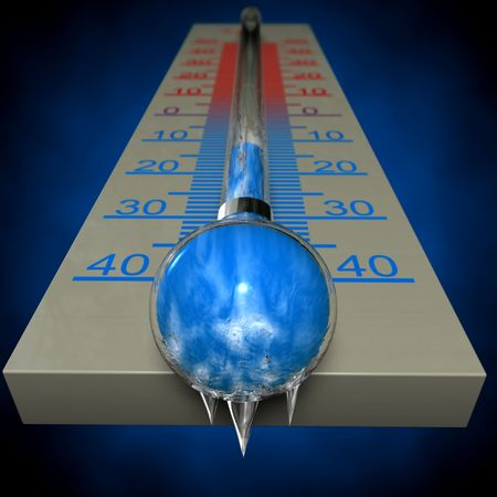 fahrenheit: 3d image of a frozen thermometer