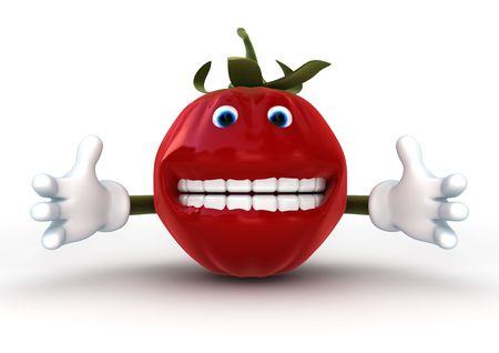 tomato cartoon: 3d rendering of a funny tomato character