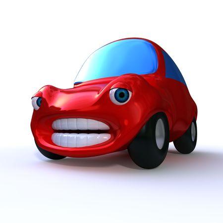 dibujos animados 3d triste coche rojo aislada sobre fondo blanco  Foto de archivo