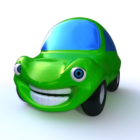 anthropomorphism: cartoon 3d green happy car isolated on white background  Stock Photo