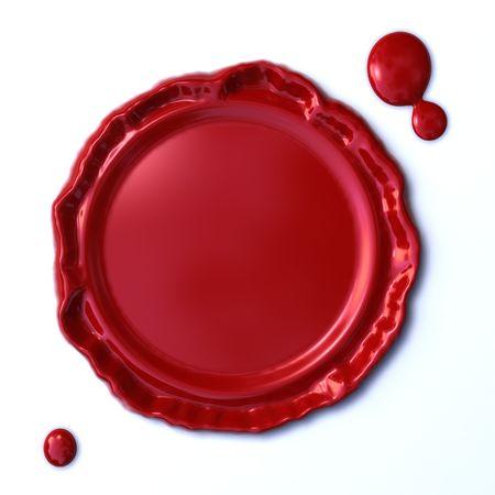 sigillo di cera rossa isolato su sfondo bianco  Archivio Fotografico