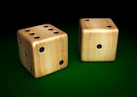 3d render of wooden dices on green table photo