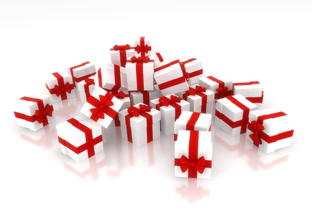 lot of white gifts with red ribbon isolate on white background Stock Photo - 9817569