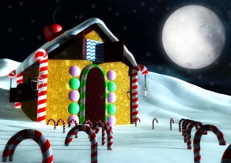casita de dulces: Casa de golosinas 3d Foto de archivo