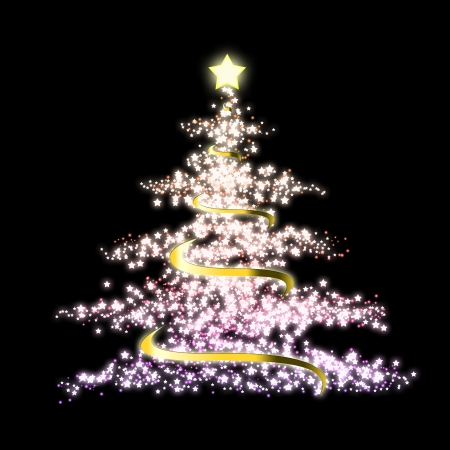 Glowing Christmas tree with a lot of glittering sparks photo