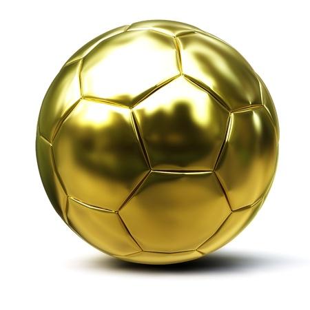pelota de futbol: bal�n de Oro 3D aislada sobre fondo blanco Foto de archivo