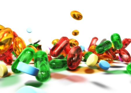 3d colorful pills isolated on white background Stock Photo - 9820622