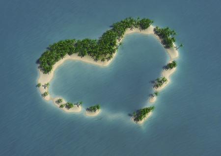 beach wedding: 3d computer image of an heart shape tropical island Stock Photo