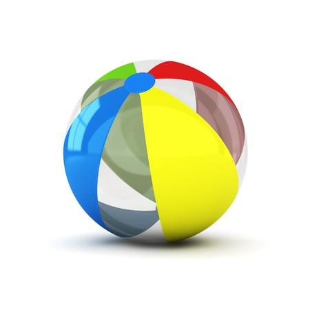 balon de voley: imagen generada por ordenador 3D de un colorido beachball aislado en fondo blanco