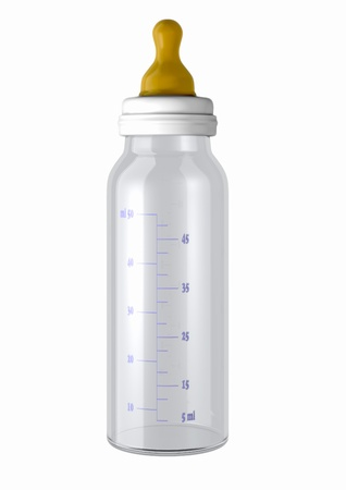 3d computer generated image of a baby bottle isolated on white background Stock Photo
