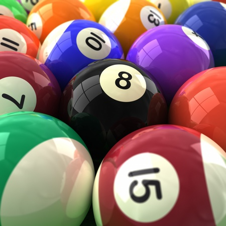 3d computer generated  image of a very closeup of colorful billiards balls