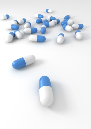 3d computer generated image of a lot of blue pills isolated on white background
