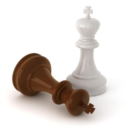 jugando ajedrez: imagen generada por ordenador 3D de un ajedrez madera rey piezas aisladas sobre fondo blanco Foto de archivo