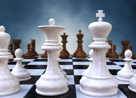 successful strategy: 3d rendering of a closeup of a chessboard