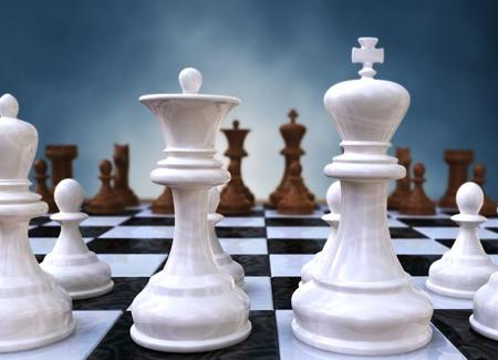 strategie: 3D Rendering von eine Nahaufnahme von einem Schachbrett