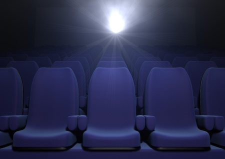 hall: 3d computer image of blue  cinema seats