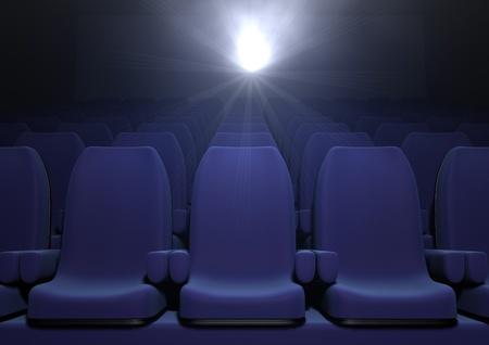 3d computer image of blue  cinema seats