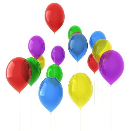 3D-afbeelding van kleurrijke ballonnen geïsoleerd op witte achtergrond Stockfoto - 8828686