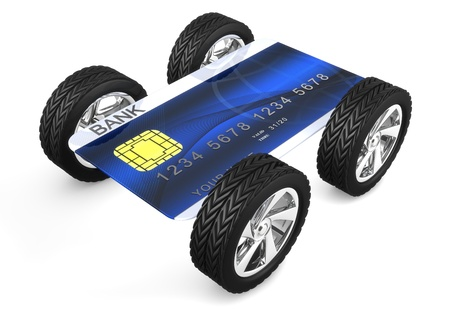 3d computer image of a credit card with weels isolated on white background photo