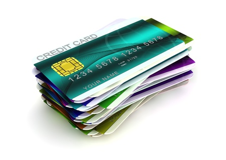 3d computer generated image of a pile of credit cards isolated on white background Stockfoto
