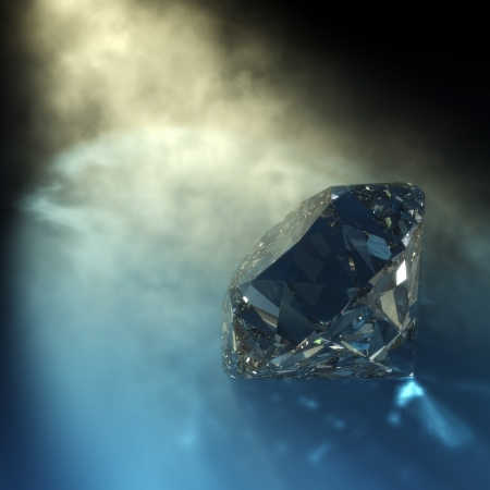 rendering 3D di un diamante con la luce visibile e riflessioni caustiche