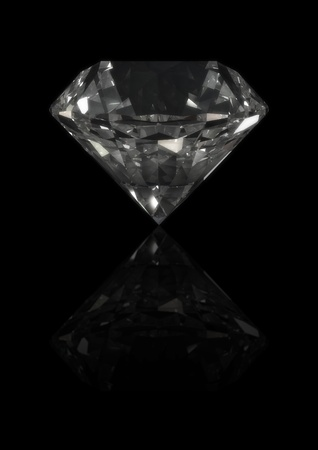 3d rendering of a diamond isolated on  reflective black Stock Photo - 8828676
