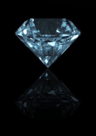 3d rendering of a diamond isolated on  reflective black Stockfoto
