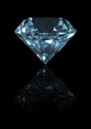 3D-weergave van een diamant geïsoleerd op reflecterend zwart Stockfoto - 8828677