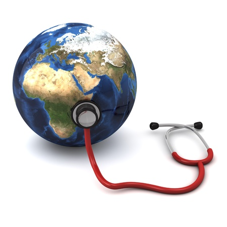 3d computer generated red stethoscope around a globe  heart  isolated on white background  photo
