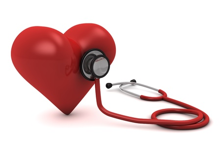 3d computer generated red stethoscope around a red  heart  isolated on white background  Stockfoto
