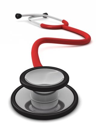 Computer gegenereerde rode stethoscoop geïsoleerd op een witte achtergrond met defocus ingang Stockfoto - 8828701