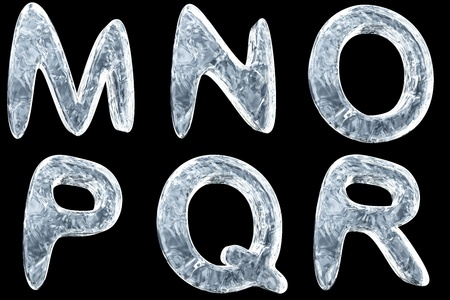 3d image of icy font collection Archivio Fotografico