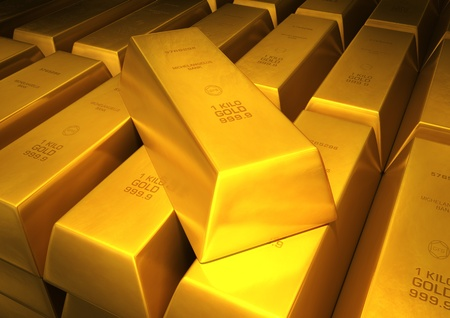 3d image close up of a lot of bar of gold photo
