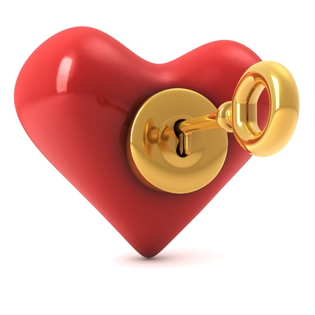 3d computer generated image of a read heart with a gold lock and a key inside isolated on white background photo