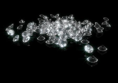 3D-weergave van een heleboel fonkelende diamanten geïsoleerd op zwart Stockfoto - 8840757