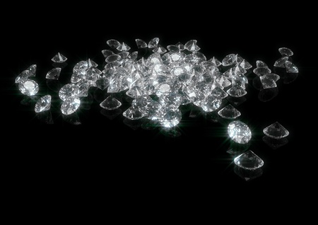 3d rendering of a lot of sparkling diamonds isolated on black Stockfoto