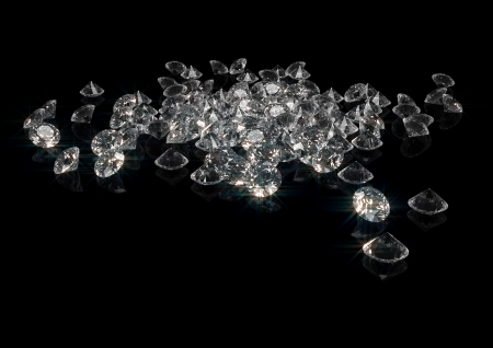3d rendering of a lot of sparkling diamonds isolated on black Stock Photo