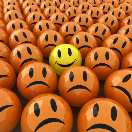 3d computer generated  image of a lot ofsad face around an happy one Stock Photo