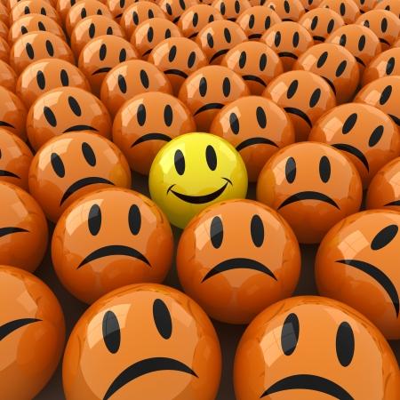 caras tristes: imagen generada por ordenador 3D de mucho ofsad cara alrededor de una feliz Foto de archivo