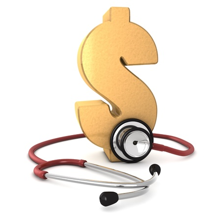 3d computer generated red stethoscope around a gold dollar symbol  isolated on white background  Stock Photo