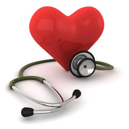 estetoscopio corazon: cura de coraz�n Foto de archivo