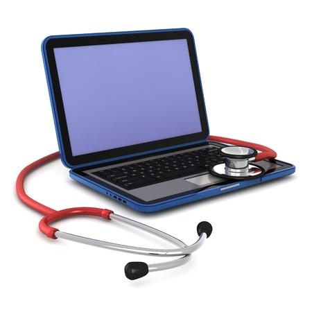 3D computer gegenereerde van een laptop met een stethoscoop op het geïsoleerd op witte achtergrond  Stockfoto - 8840748