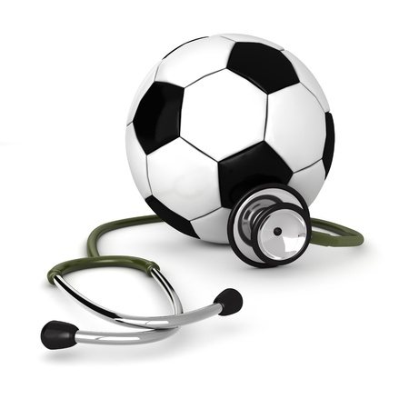 3d computer genrated image of a stethosocpe around a soccer ball isolated on white background