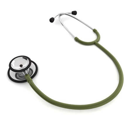 computer generated red stethoscope isolated on white background Stock Photo - 8828678