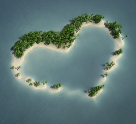 render of an heart shaped island photo