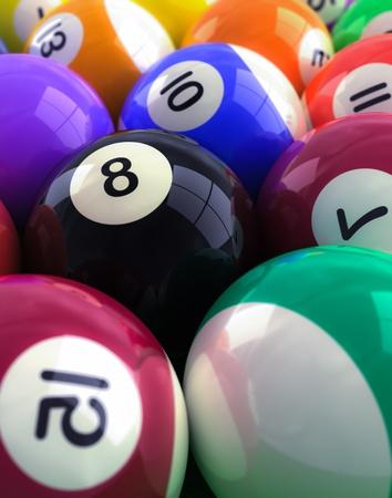 bola de billar: primer plano de las bolas de billar, bola ocho se centran