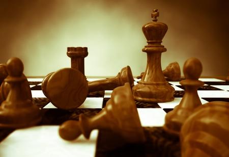 sacrificio: Representación 3D de un primer plano de un tablero de ajedrez