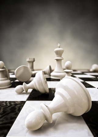 Rendering of a closeup of a chessboard photo