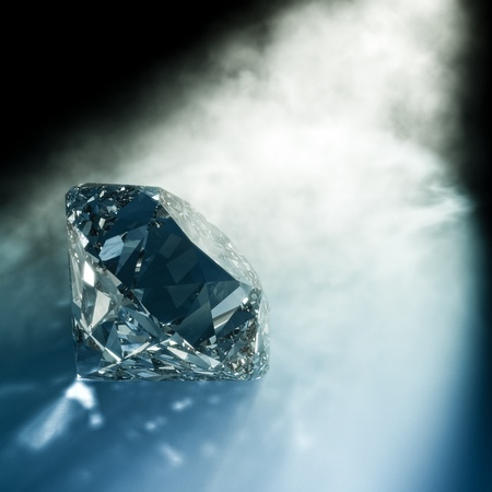render of a diamond hitted by light photo
