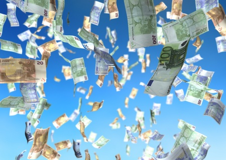 flying money: falling euro money over a blue sky